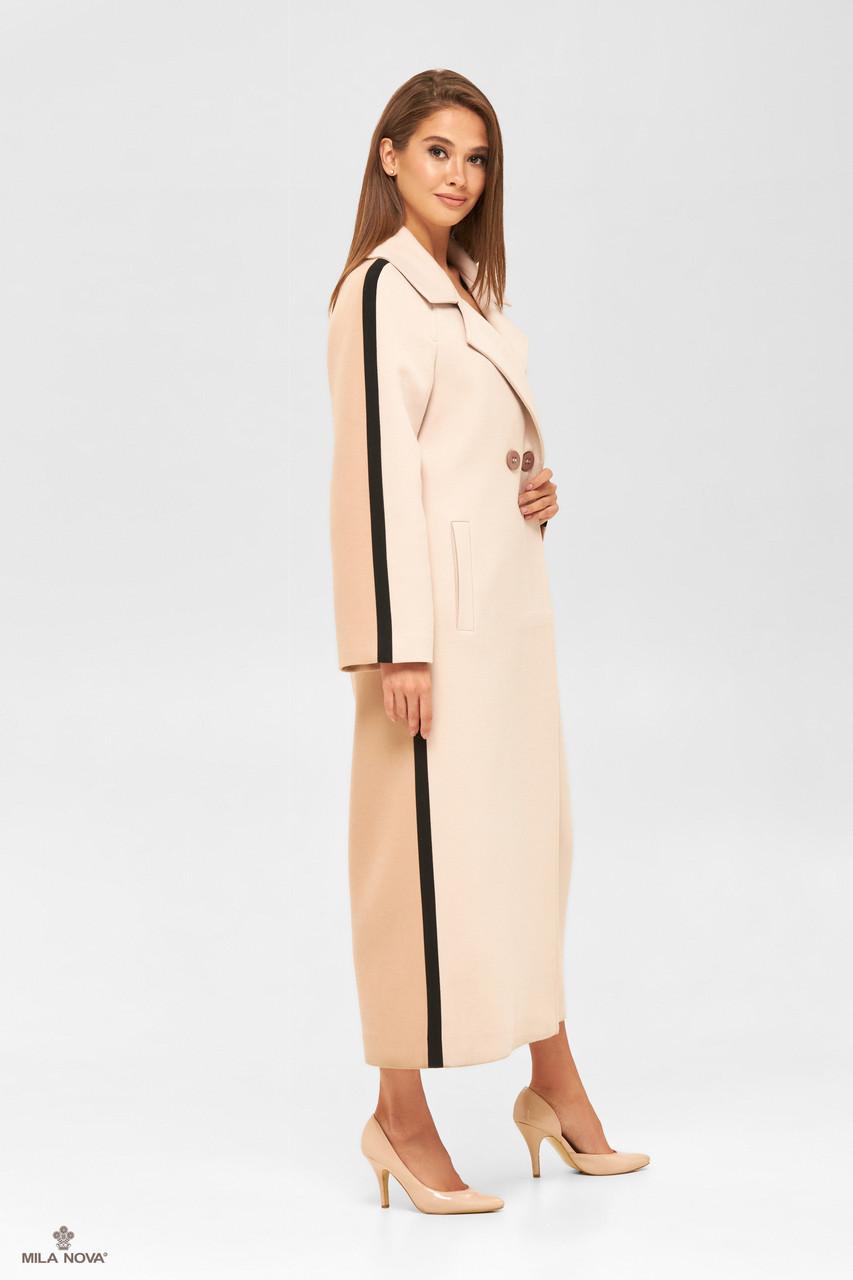 Классическое женское пальто молочное демисезонное