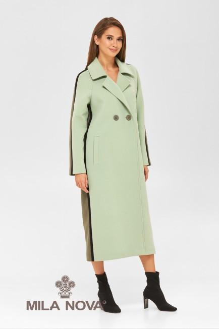 Классическое женское пальто хаки демисезонное