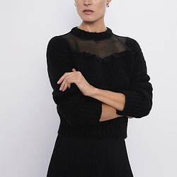 Свитер женский с кружевной вставкой Lace Berni Fashion (S)