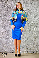 """Женский костюм с платьем """"Николь №1"""" электрик+темно-синий+ цветочный принт"""