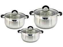 Набор посуды из нержавеющей стали Zauberg Black 3 шт 2л/3л/4л (ZB-234B)