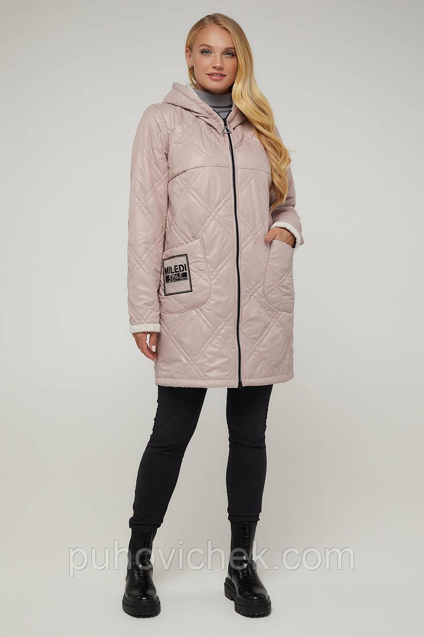 Осенняя женская куртка с капюшоном размеры 48-58