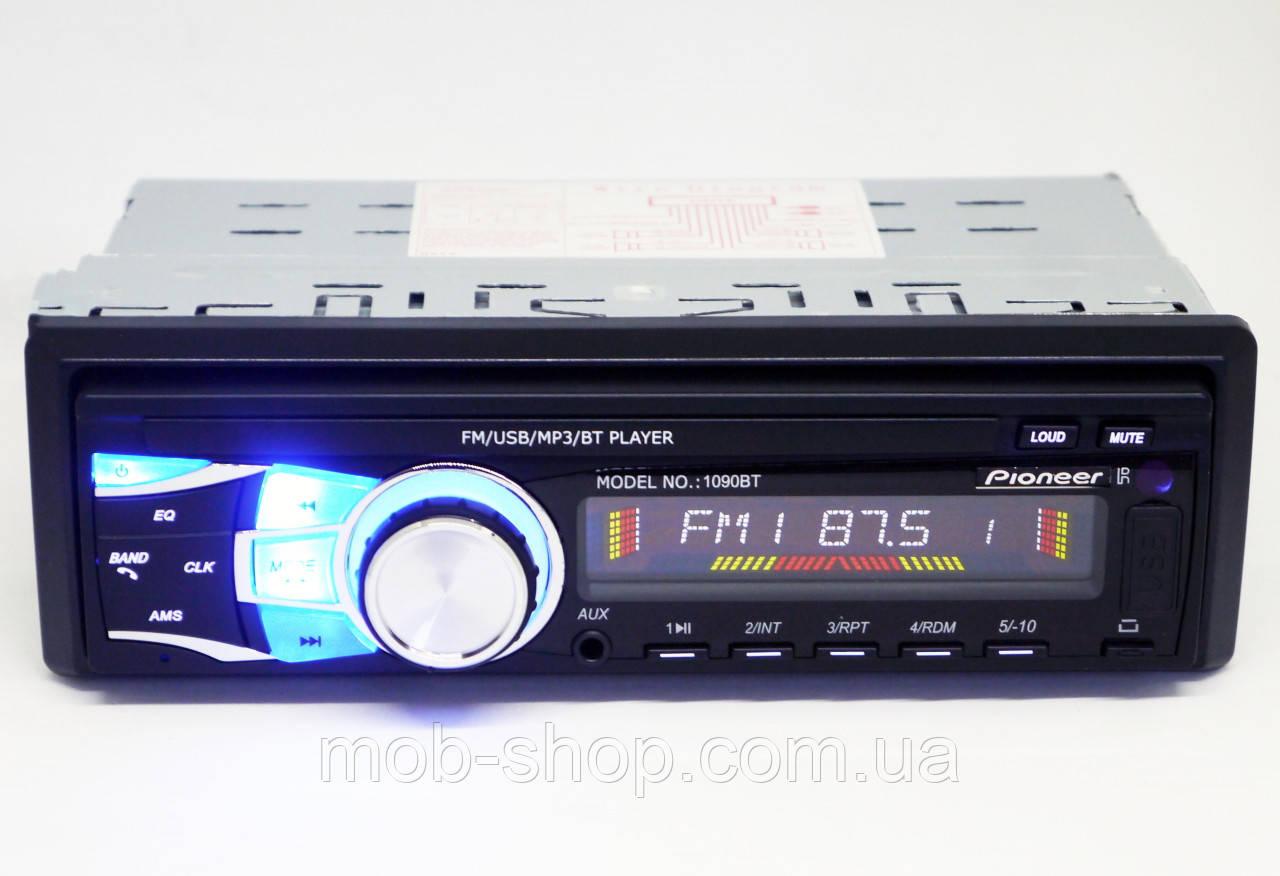 1din Автомагнитола Pioneer 1090BT Bluetooth USB AUX 1 дин магнитола со съемной панелью в ваз ланос