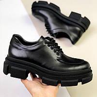 Туфлі жіночі чорні шкіряні на шнуровці з масивною підошвою Mirta