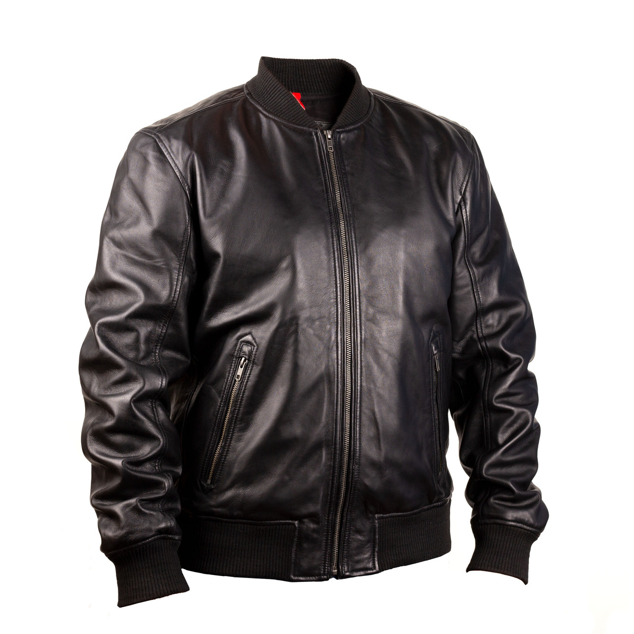 Мужская кожаная куртка бомбер Camden black