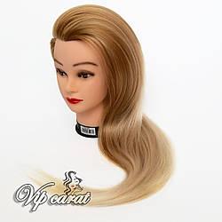 Учебная голова манекен для причесок с натуральными волосами 30% / кукла для парикмахера / манекен для зачісок