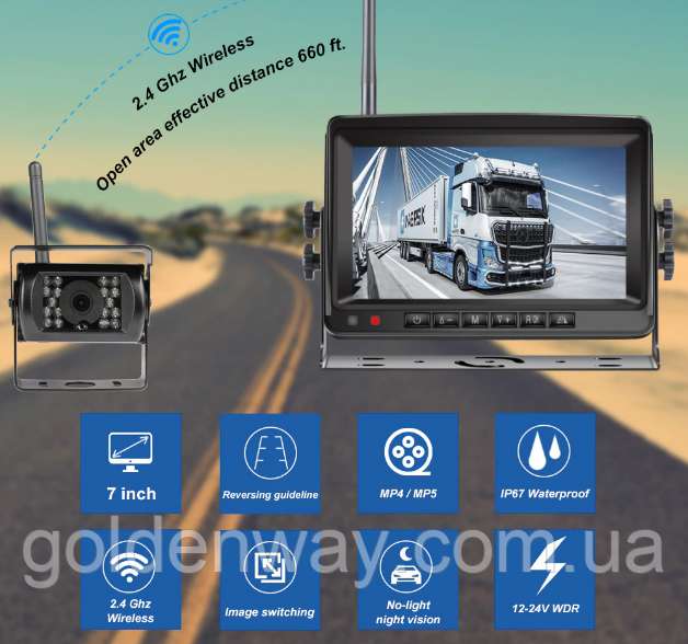 Система парковки для грузовика SAMFIWI C1073 (Беспроводной Монитор 7 дюймов + 1 беспроводная камера 12-24V)
