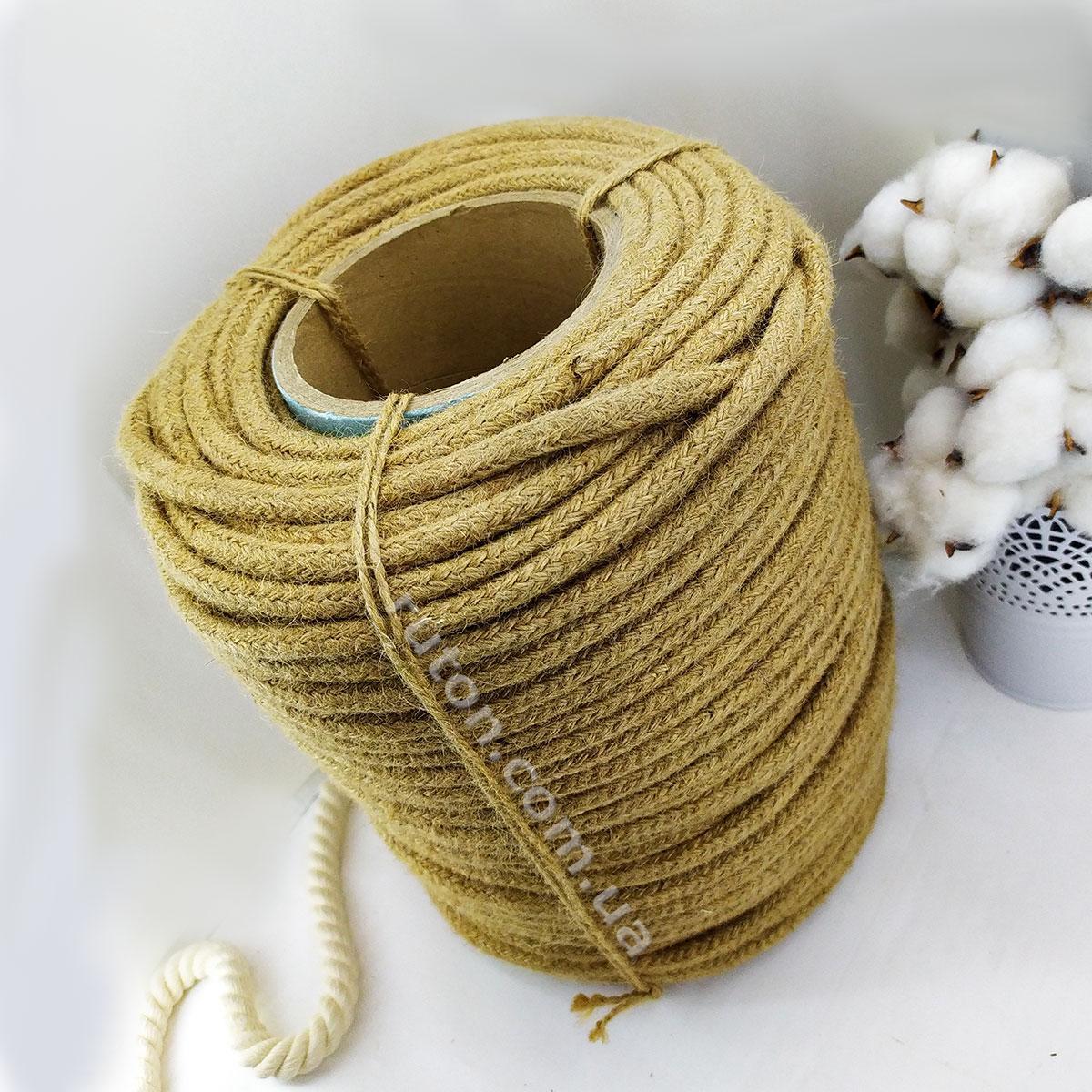 Джутовая плетеная веревка для интерьера и рукоделия 12 мм 100 м