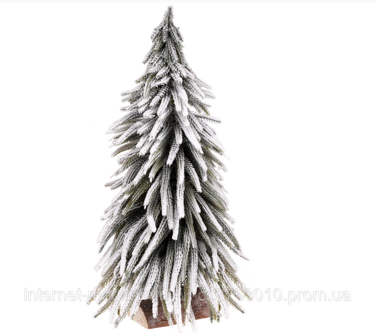 """Декоративная елка """"В снегу"""" 52см, на деревянной подставке"""