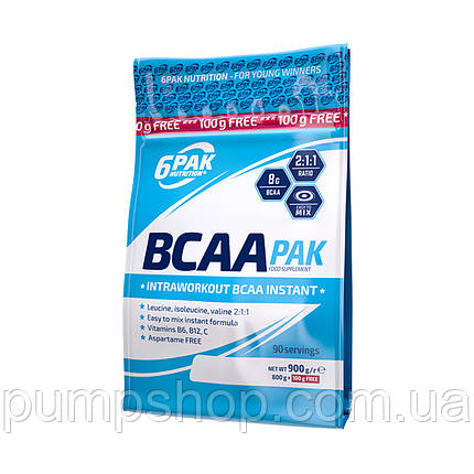 Аминокислоты бца 6PAK Nutrition BCAA PAK 2:1:1 Instant 900 г, фото 2