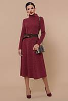 Теплое платье из ангоры с длинным рукавом бордо Размер 44 46 48 Женские платья осень зима
