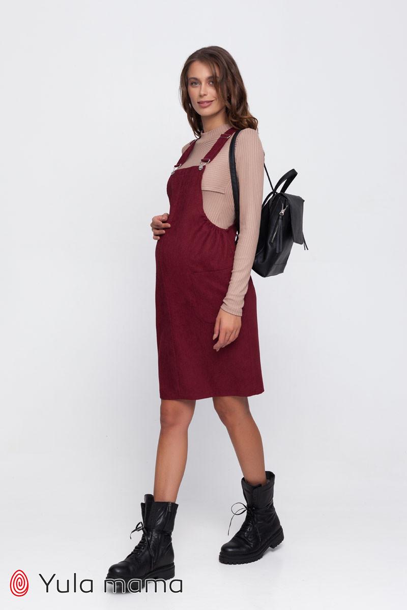 Вельветовый сарафан для беременных AGNES OV-30.011 марсала