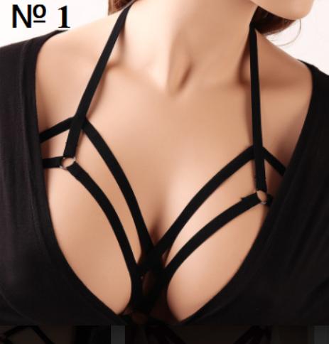 Трикотажная женская портупея на оголенную грудь