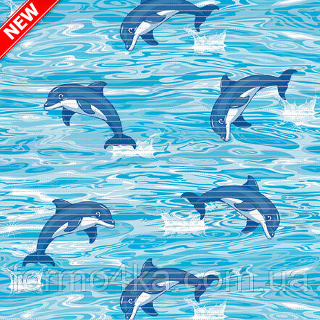 Коврик аквамат в ванную 130см Дельфины
