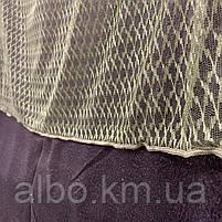 Стильный тюль сетка на основе фатина оливкового цвета на метраж, высота 3 м, фото 4