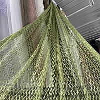 Стильный тюль сетка на основе фатина оливкового цвета на метраж, высота 3 м, фото 2
