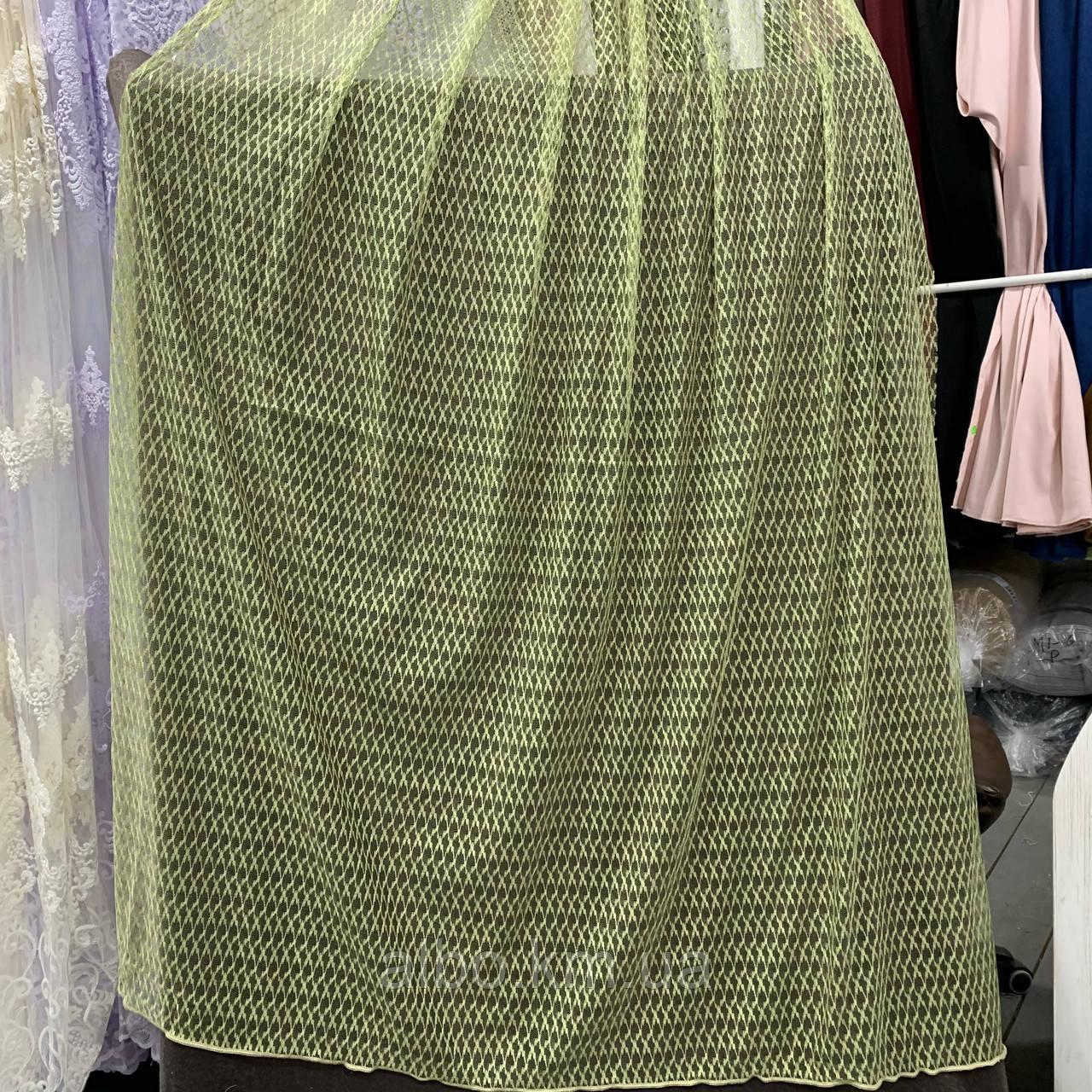 Стильный тюль сетка на основе фатина оливкового цвета на метраж, высота 3 м