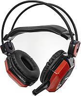 Игровая гарнитура JEQANG JH-2015 Black + Red накладные наушники с микрофоном для игр общения