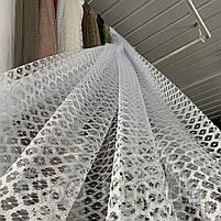 Стильный тюль сетка белого цвета на метраж, высота 2.8 м, фото 2