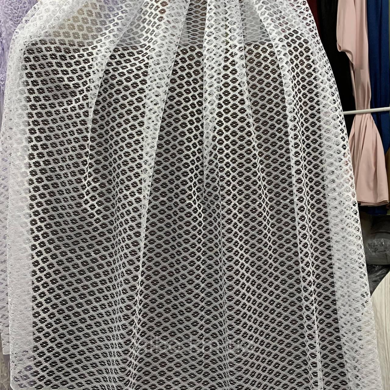 Стильный тюль сетка белого цвета на метраж, высота 2.8 м