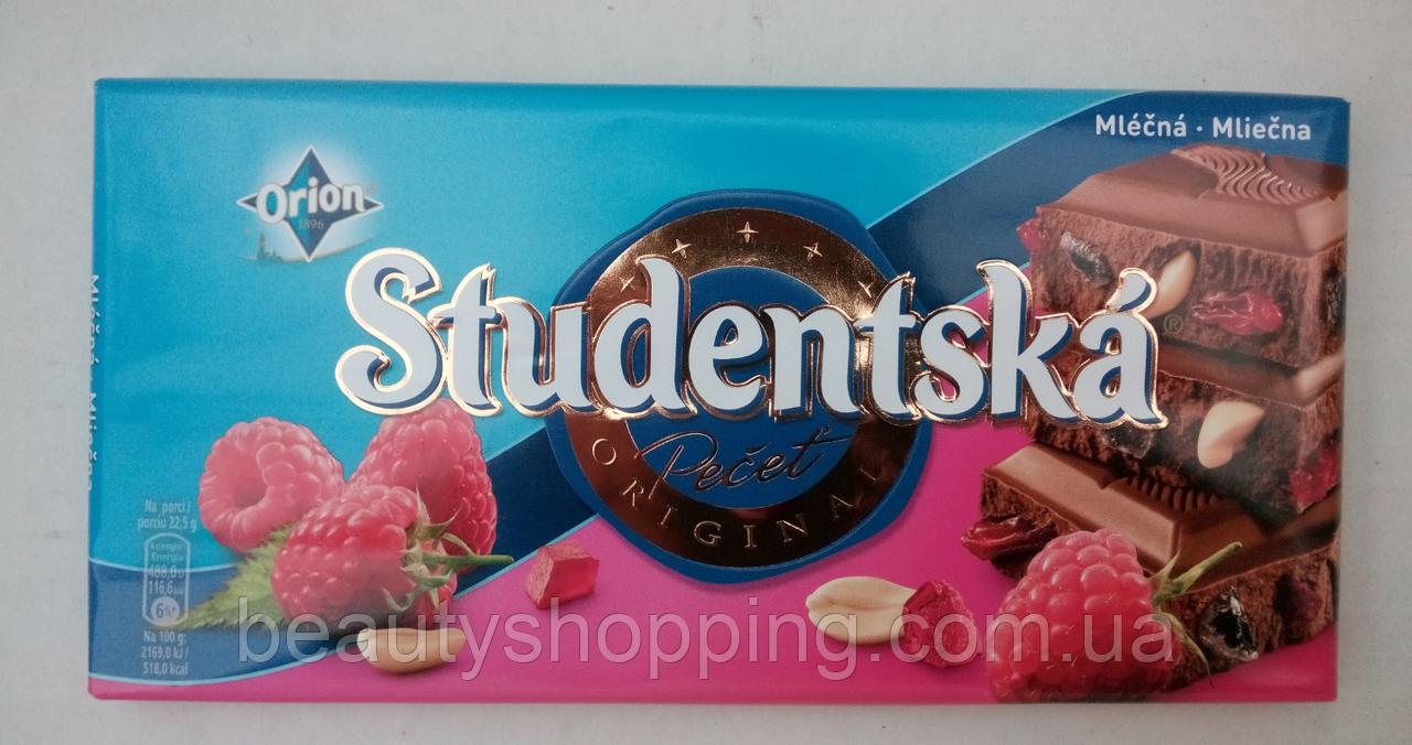 Studentska pecet Молочный шоколад с малиной, арахисом и кусочками мармелада Чехия 180гр