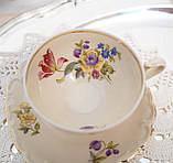Антикварная фарфоровая чайная чашка с блюдцем, Schumann & Schreider, Германия, 1950-е года, фото 4