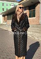 Пальто демисезонное с мехом норки
