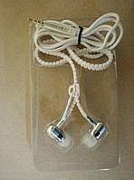 Навушники на блискавці Zipper Earphones білі (сині), фото 1
