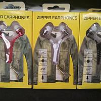 Наушники на молнии Zipper Earphones синие (белые), фото 1