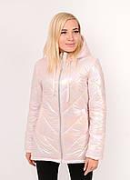 Женская куртка демисезонная плащёвка с блеском (р-ры 42-58) розовый