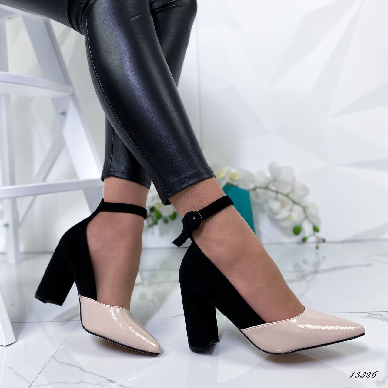Женские туфли на каблуке из эко-замши чёрно-бежевые