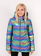 Женская куртка демисезонная плащёвка с блеском (р-ры 42-58) радуга