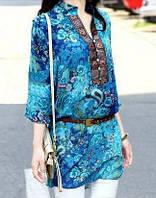 Шифоновая женская блузка с вышивкой