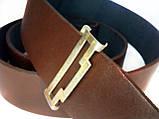 Ремень кожаный с пряжкой (бляха)  латунной Зірка з Тризубом 547, фото 3