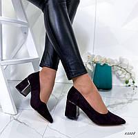 Женские туфли на низком каблуке чёрные, фото 1