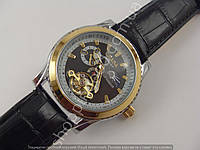 Мужские часы Слава Созвездие GF1011 серебристые черный циферблат механика автоподзавод скелетон