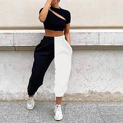 Штани жіночі спортивні чорно-білі половинки