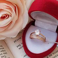 Золотое кольцо с цирконием двойное.