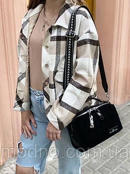 Жіноча замшева сумка бочонок з широким ремінцем Polina & Eiterou