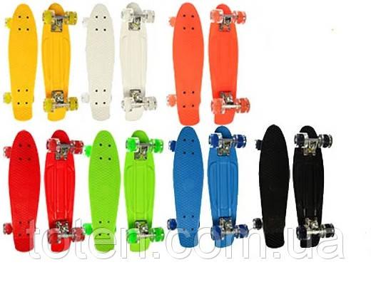 Скейт Пенні борд (Penny board) Оранжевий. Довжина 55 див. Колеса силікон - поліуретан. Алюмінієва підвіска.