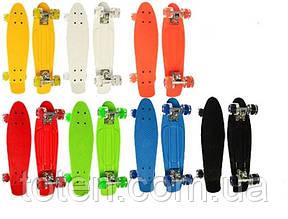 Скейт Пенни борд (Penny board) Оранжевый. Длина 55 см. Колеса силикон - полиуретан. Алюминиевая подвеска.