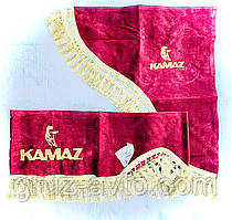 Шторки в кабину Камаз (лобовое стекло-1 и боковые-2 цвет бордовый