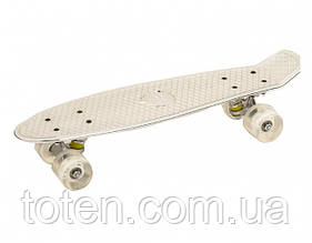 Скейт Пенни борд (Penny board) белый цвет . Длина 55 см. Колеса силикон - полиуретан. Алюминиевая подвеска.
