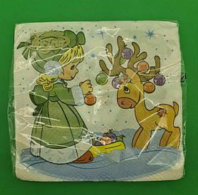 Салфетка для декупажа красивая ЗЗхЗЗ 20шт Рождественский оленёнок (1пач)