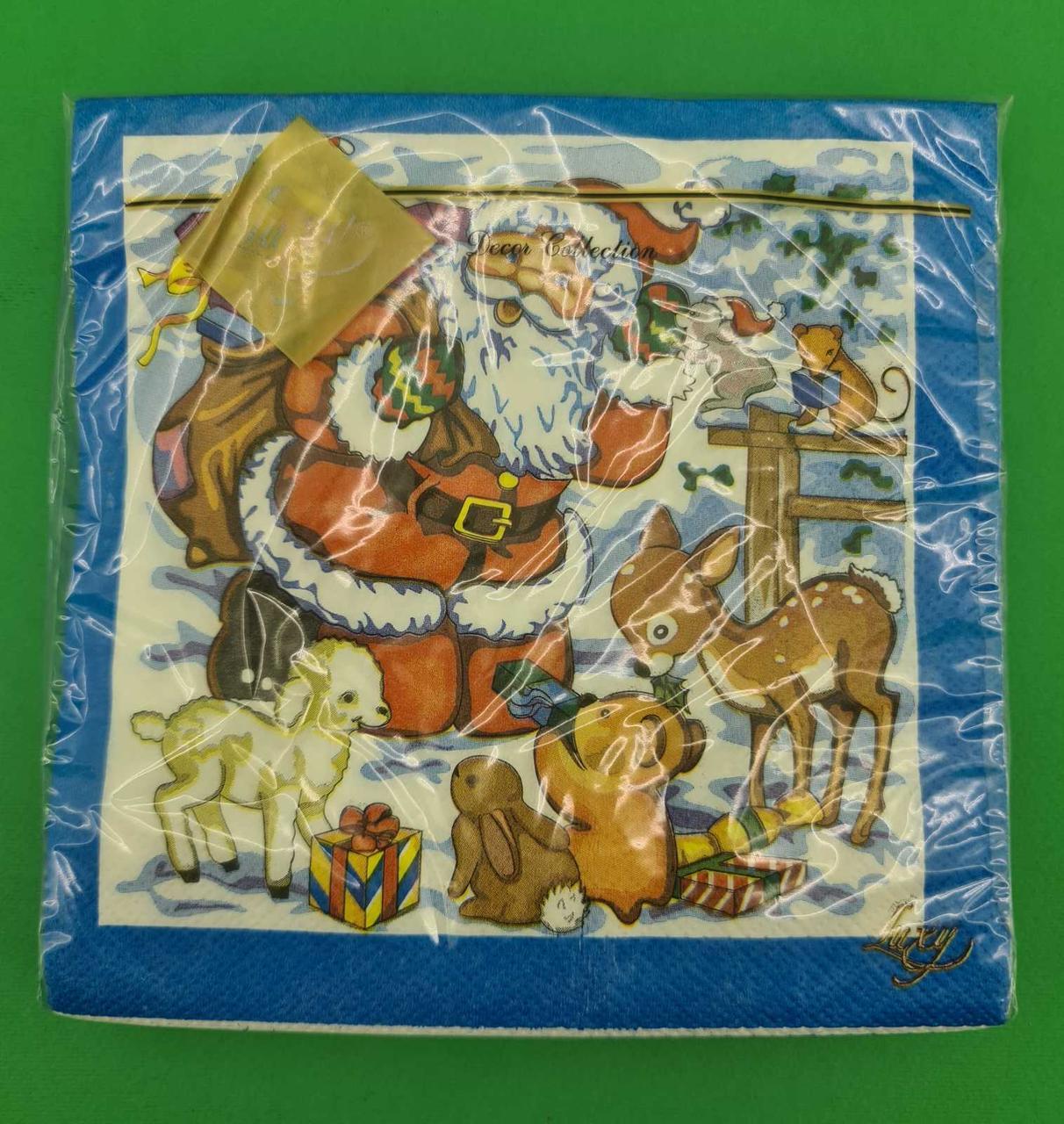 Салфетки бумажные ЗЗхЗЗ 20шт  Дед мороз и Звери (1 пач)