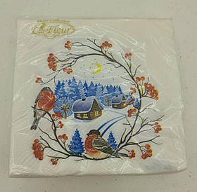 Салфетки столовые (ЗЗхЗЗ, 20шт)  La FleurНГ Снегири 081 (1 пач)