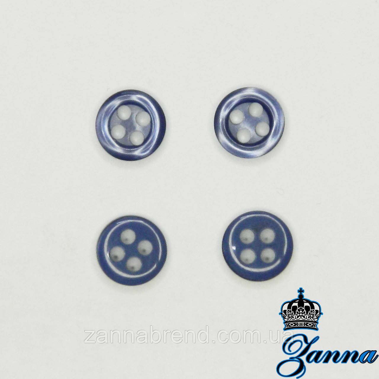 Пуговица (декор) пластиковая (14) синяя 10 шт