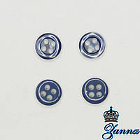 Пуговица (декор) пластиковая (14) синяя 10 шт, фото 1
