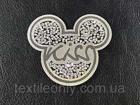 Нашивка Микки / Mickey Kiss стразы 60х50 мм