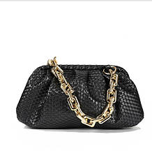 Брендовые сумки женские эко кожа модная красивая Bottega Veneta черная с крупной цепью